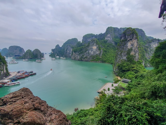 Tropical view at one of the bays in Halong Bay Vietnam